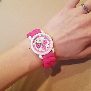 Hot pink and white stretch watch